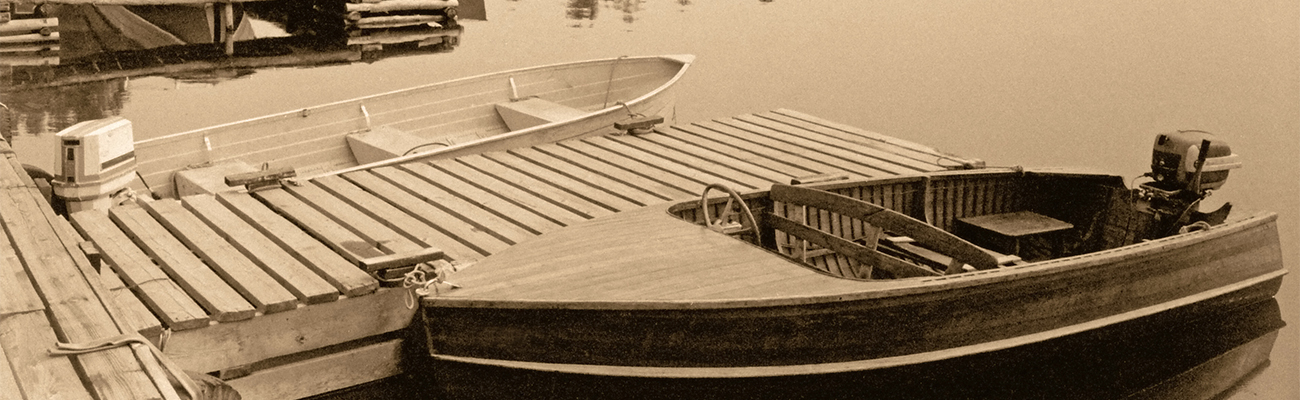 Vintage Photo of Motorboats Docked in Cottage Country