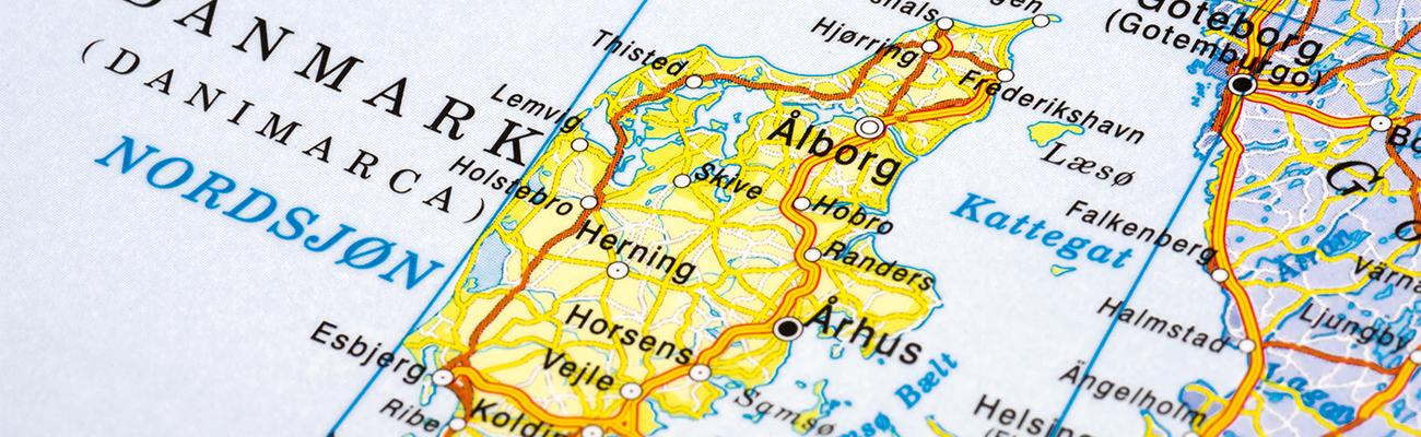 Danmark of map